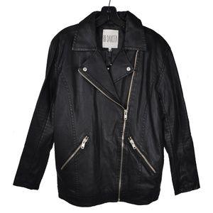 Black Faux Leather Zipper Moto Jacket